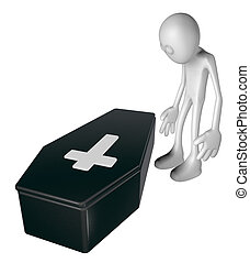 sadness - sad white guy stands on black casket whit...