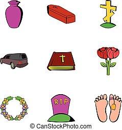 Sadness icons set, cartoon style
