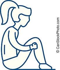 Sadness line icon concept. Sadness flat vector symbol, sign, outline illustration.