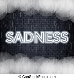 Sadness neon lettering. Sad mood. Vector illustration