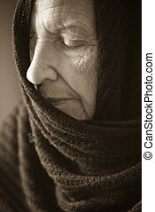 sadness old age - special sepia -vintage photo f/x, focus...