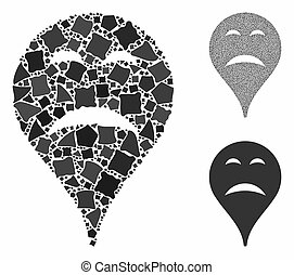 Sadness smiley map marker Mosaic Icon of Rugged Parts