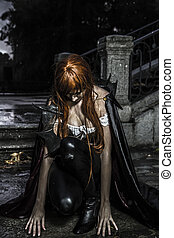 Sadness, Under the storm, Beautiful vampire woman in palace gate, gothic fantasy huge coat, hair in red