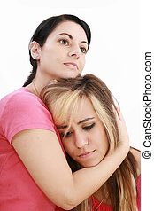 Sadness woman in friends arms, isolated on white