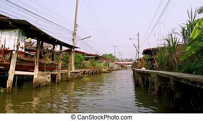 saduak, damnoen, -, marché, thaïlande, flotter