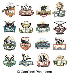 Safari and hunting sport icons, equipment