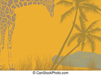 Safari animal background - vector illustration background...