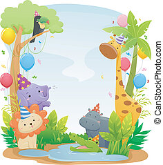 Safari Animal Birthday Background - Background Illustration...
