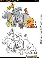 safari animal characters coloring book