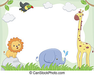 Safari Animal Frame - Frame Illustration Featuring Cute...