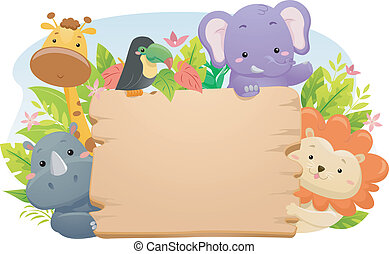 Safari Animal Sign - Illustration Featuring Cute Safari...
