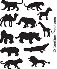 A vector illustration of some safari animal silhouettes set against a white background.