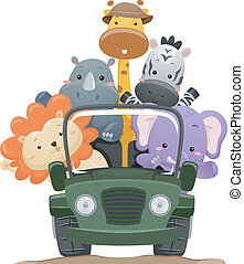 Safari Animal Truck - Illustration Featuring Cute Safari...