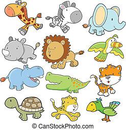 safari, animale, disegno, vettore, set