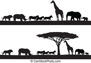 safari, animale, silhouette