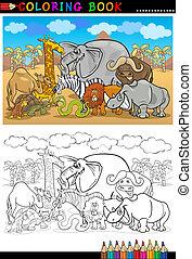 safari, animales salvajes, caricatura, para, libro colorear