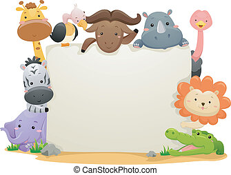Safari Animals Banner - Banner Illustration Featuring Cute...