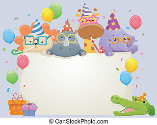 Safari Animals Birthday Banner - Banner Illustration...