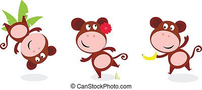 Safari animals: Brown cute monkey