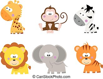 safari animals - collection of cute cartoon little Safari...