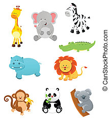 Collection of cute safari animals.