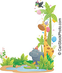 Safari Animals Corner Border - Border Illustration Featuring...
