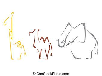 Safari animals - Giraffe camel and elephant at sketch