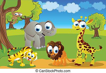 safari animals in the zoo