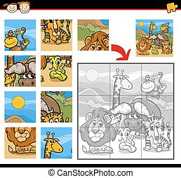 safari animals jigsaw puzzle game - Cartoon Illustration of...
