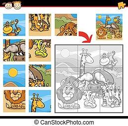 safari animals jigsaw puzzle game - Cartoon Illustration of...