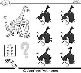 safari animals shadow game coloring book - Black and White...