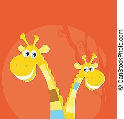 Safari animals - two giraffes