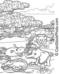 Safari Cartoon Animal Background Landscape Scene