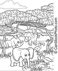 Safari Cartoon Animal Background Landscape Scene