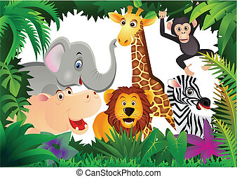 Safari cartoon - Vector illustration of saari cartoon