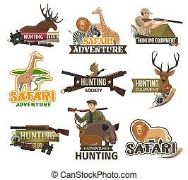 safari, caza, club, africano, animales, caza, iconos
