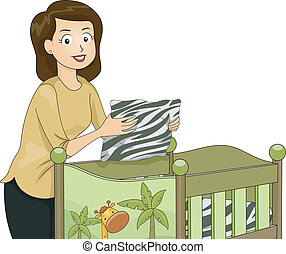 Illustration Featuring a Young Mother Fixing a Crib with a Safari Theme