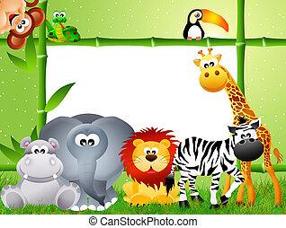 safari, dier, spotprent