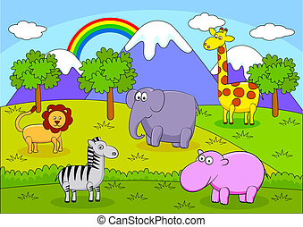 safari, dyr, karton
