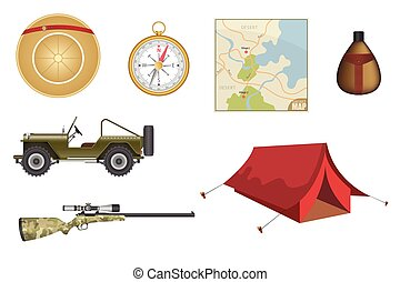 Safari equipment set vector illustration