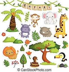 safari, forêt, animal