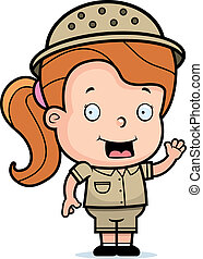 A happy cartoon safari girl waving and smiling.