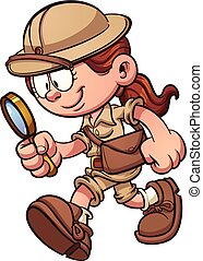 Safari girl - Cartoon safari girl looking through a...