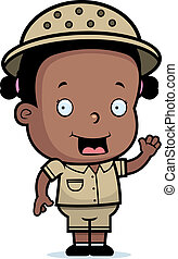 Safari Girl - A happy cartoon safari girl waving and...
