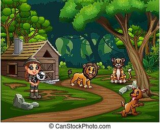 safari, girl, forêt, animaux