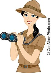 Safari Girl - Illustration Featuring a Girl Dressed in a...