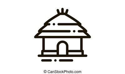 Safari House Icon Animation. black Safari House animated icon on white background