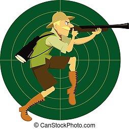 Safari hunter - Funny cartoon man in safari clothes on a...