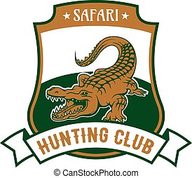 Safari hunting club badge with alligator croc