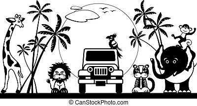 Safari in jungle with wild animals